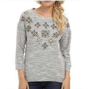 Lucky Brand Lotus Embellished Snowflake Sweater S